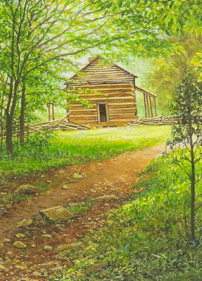 miniature painting of the John Oliver cabin in GSMNP by Wes Siegrist