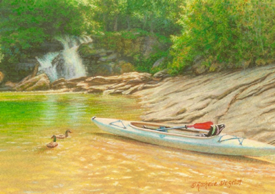 miniature painting of a kayak by Rachelle Siegrist