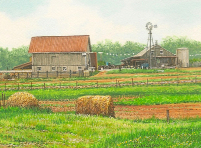 Miniature Painting of a Tennessee farmstead by Wes Siegrist