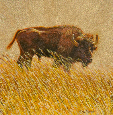 painting of a Bison by Wes Siegrist