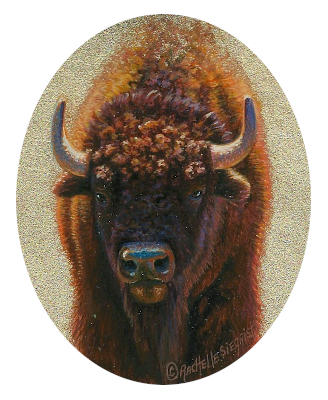 miniature painting of a Bison by Rachelle Siegrist