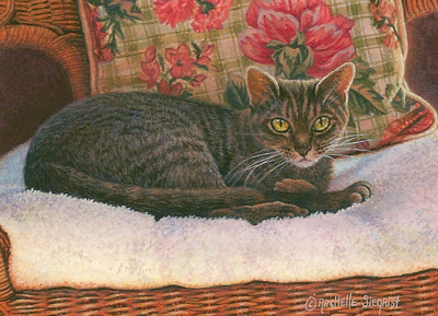 miniature painting of a house cat by Rachelle Siegrist