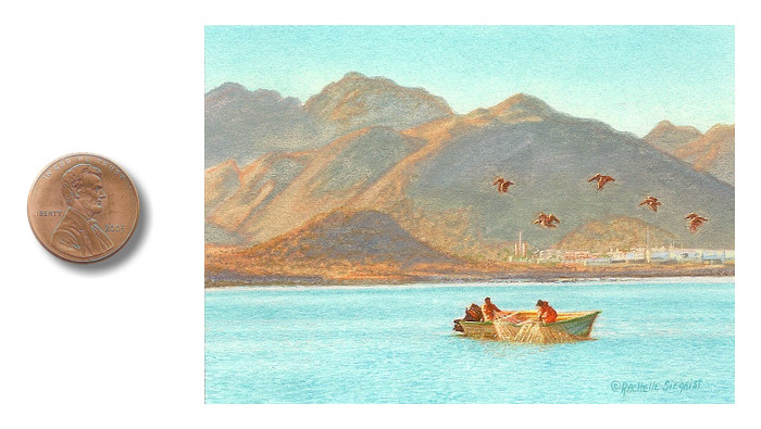 miniature painting of a fishermen in Mexico by Rachelle Siegrist