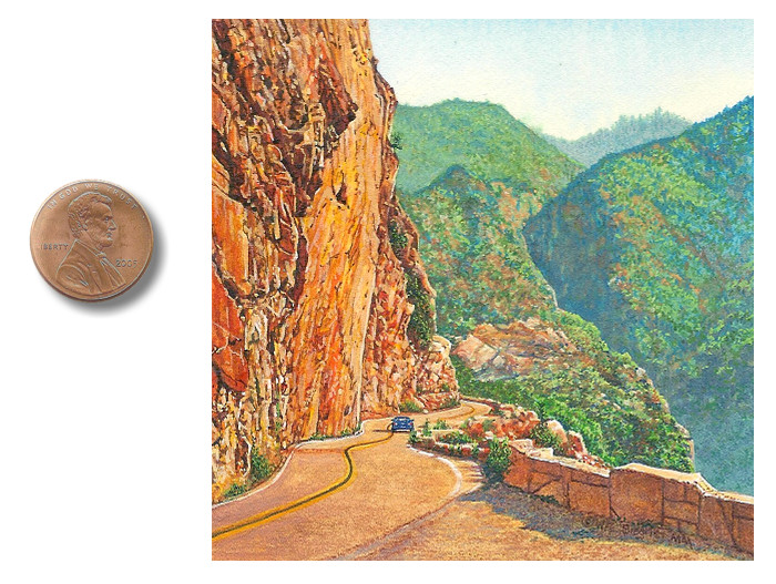 miniature painting of a Kings Canyon by Wes Siegrist