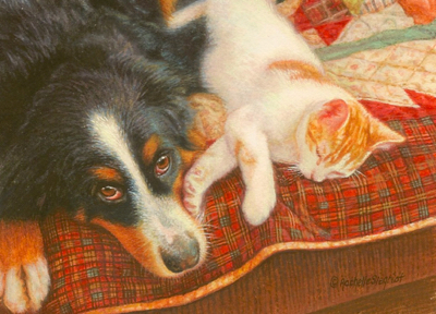 Commissioned miniature painting of a dog and cat by Rachelle Siegrist