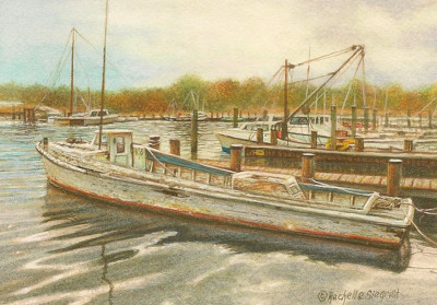 painting of boats by Rachelle Siegrist