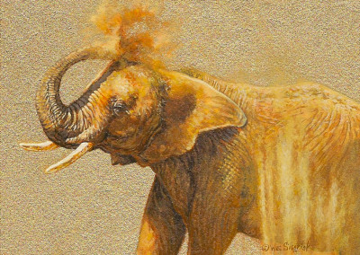 painting of an elephant by Wes Siegrist