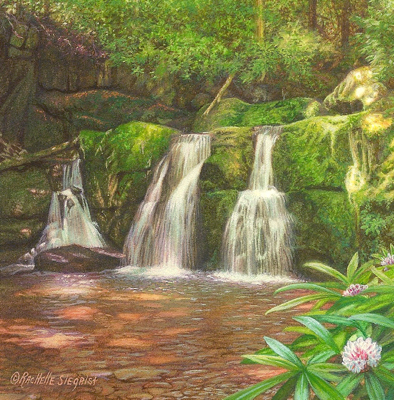 miniature painting of a waterfall in the Smokies by Rachelle Siegrist