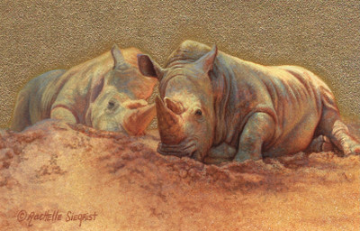painting of Rhinos by Rachelle Siegrist