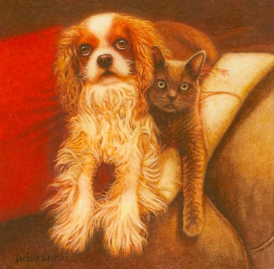 Commissioned Dog and Cat Painting by Rachelle Siegrist