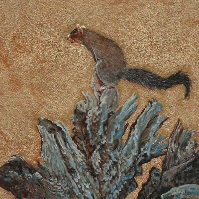 painting of a southern fox squirrel by Wes Siegrist