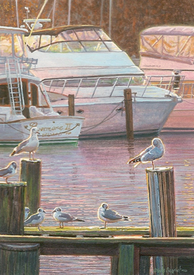 miniature painting of a seagulls and boats in a marina by Wes Siegrist