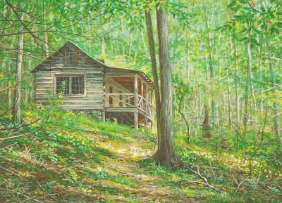 miniature painting of the Avent Cabin in GSMNP by Wes Siegrist