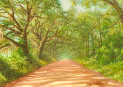 Miniature Painting of a South Georgia road by Rachelle Siegrist