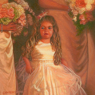 miniature painting of a flower girl by Rachelle Siegrist
