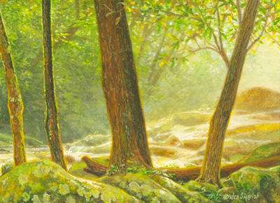 miniature painting of a Smokies landscape by Wes Siegrist