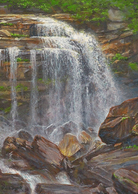 miniature painting of a whitewater falls by Wes Siegrist