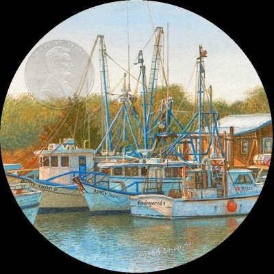 miniature painting of boats by Rachelle Siegrist