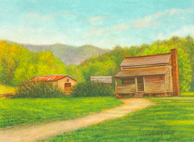 miniature painting of Cades Cove Lawson Place by Rachelle Siegrist