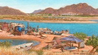 miniature painting of a fishermens' camp in Mexico