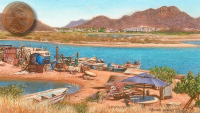 miniature painting of fishermens' camp in Mexico by Rachelle Siegrist