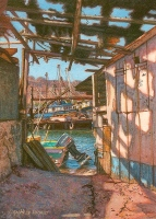 miniature painting of rusty old boats in a marina in Mexico