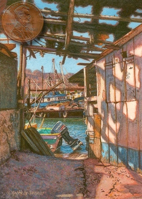 miniature painting of rusty old boats in a marina in Mexico by Rachelle Siegrist