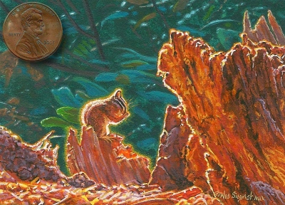miniature painting of a chipmunk by Wes Siegrist