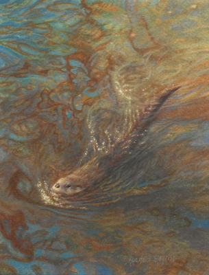 miniature painting of a river otter by Rachelle Siegrist