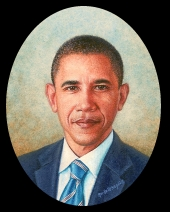 miniature portrait painting of President Barack Hussein Obama