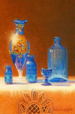 miniature painting of a still life with blue glass by Rachelle Siegrist