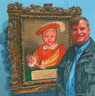 miniature painting of Wes Siegrist beside Hans Holbein's Edward VI by Wes Siegrist