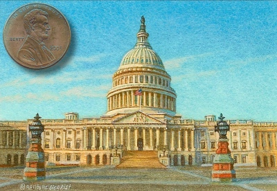 miniature painting of the U.S. Capitol by Rachelle Siegrist