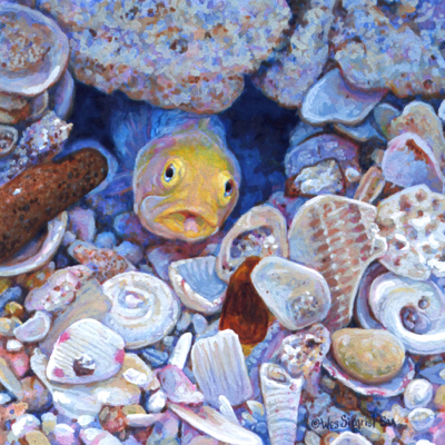 miniature wildlife painting of a yellow-headed jawfish by Wes Siegrist